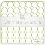 SwaddleDesigns Organic Ultimate Receiving Blanket, Mod Circles on Ivory, Kiwi