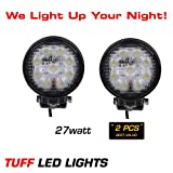 "Tuff LED Lights 2 X 4"" Inch Round 27watt LED Work Lamp Light 1550 Lumen, Off Road, Atv, Utv, Polaris Ranger"