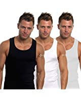 Mens Fitted 100% Cotton Vests Pack of 3