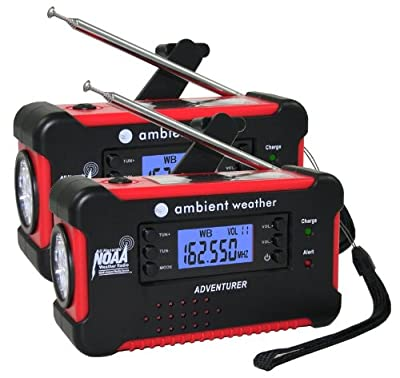 Ambient Weather WR-111 Emergency Solar Hand Crank AM/FM/NOAA Digital Radio, Flashlight, Cell Phone Charger with NOAA Certified Weather Alert & Cables, 2-Pack from Ambient Weather