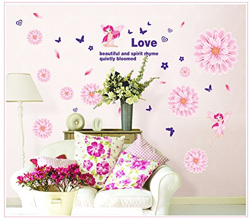 Apexshell (Tm) Baty And Love Quote Pink Flowers And Angel Removable High Quality Decorate Wall Decal Sticker Decor For Kids, Home, Nursery Room, For Children'S Bedroom front-377339