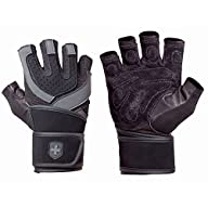 Harbinger 1250 Training Grip WristWrap Glove,Black/Grey