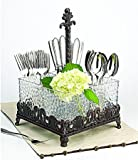 Artimino Venetian Attractive Hammered Glass Flatware Caddy in an Antique Metal Scroll-work Base - Serving Dish