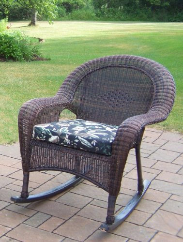 Oakland Living Resin Wicker Rocker with Cushion, Coffee, Set of 2 photo