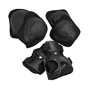 Black Kids Skate Elbow Knee Wrist Pads Protector Set