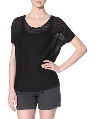 Qi Cashmere Women's Crystal Top  - Black