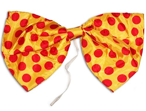 Star Power Large Clown Polka Dot Oversized Bow Tie Yellow Red One Size