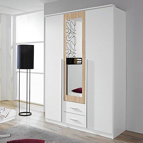 Kleiderschrank weiß / grau 3 Türen B 136 cm eiche sonoma Schrank Drehtürenschrank Wäscheschrank Spiegelschrank Kinderzimmer Jugendzimmer bestellen