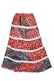Indiatrendzs Women's Skirts Red Lace Work Fashion Long Maxi Skirt