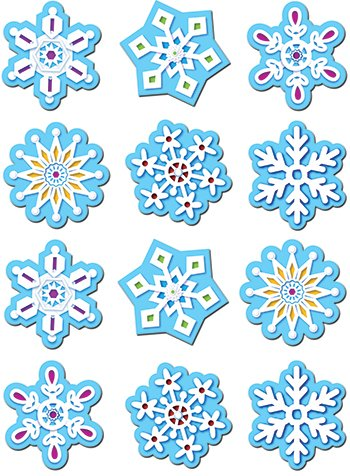 Snowflakes Stickers -- Case of 16