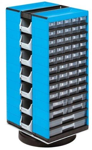 Kunststoff-Drehmagazin, VarioPlus System13/94/14, blau, 13-zeilig, 94 Schübe, 14 Boxen