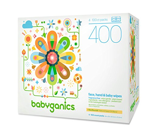 Babyganics Face, Hand & Baby Wipes, Fragrance Free, 400 Count (Contains Four 100-Count Packs) (Wet Wipes Toddler compare prices)
