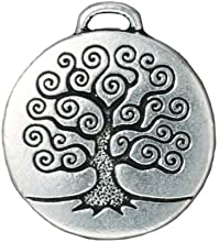 Fine Silver Plated Pewter Round Tree Of Life Pendant 26mm 1