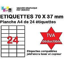 1200 Étiquettes pour Timbres 70x37mm - 50 feuilles A4 compatible jet d'encre, laser et copieur - TVA DÉDUCTIBLE contrairement à certains vendeurs (auto entrepreneurs) - Marque UNIVERS GRAPHIQUE REF UGE242