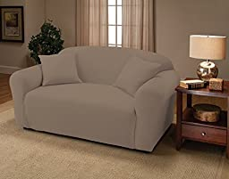 Madison Stretch Jersey Silver Loveseat Slipcover, Solid