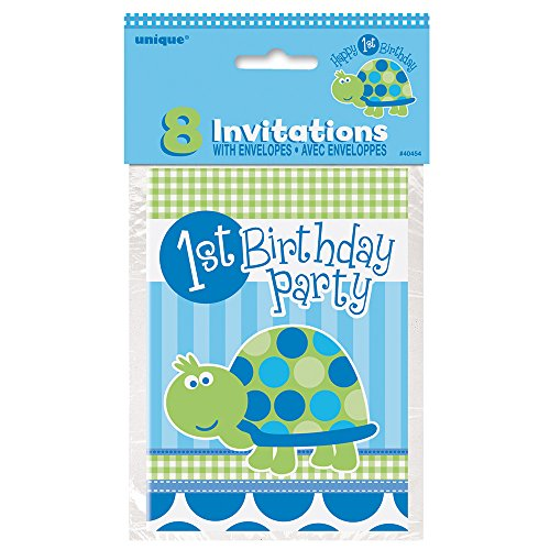 Turtle First Birthday Invitations, 8ct