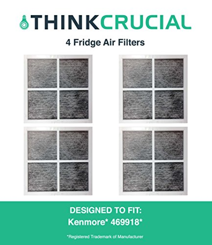 4 Premium Kenmore Elite 9918 Air Purifying Fridge Filters, Part # 469918 & 04609918000, by Think Crucial