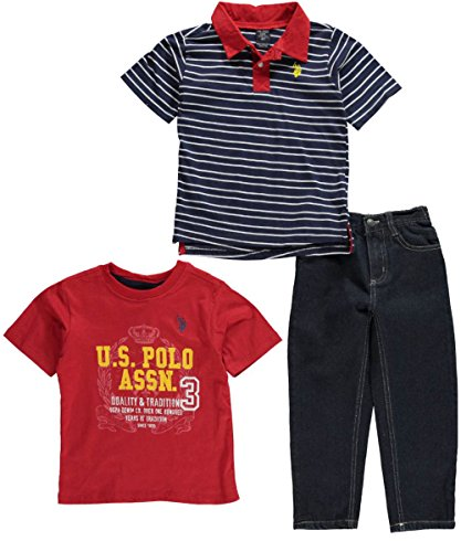 U.S. Polo Assn. Little Boys' 3 Piece Stripe Polo Graphic T-Shirt And 5-Pocket Denim Jeans Set, Classic Navy, 2T