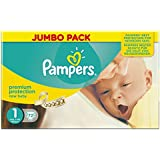 Pampers New Baby Couches 2 à 5 Kg Taille 1 Jumbo Pack X 72 Changes