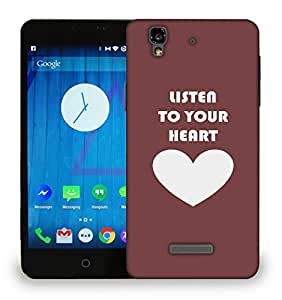 Snoogg Listen To Your Heart Printed Protective Phone Back Case Cover For Micromax Yu Yureka