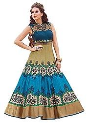 Rozdeal New Dark Blue & Beige Banglori Silk Designer Gown