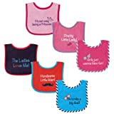 Luvable Friends Drooler Bib with Water Proof Backing, 3 Pack