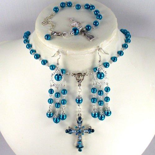 Catholic Wedding Jewelry Montana Blue pearls