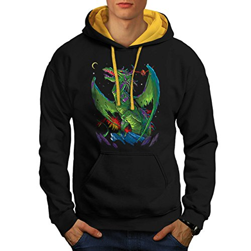 [Dragon Battle Of Rage Deadly Men NEW M Contrast Hoodie | Wellcoda] (Spyro The Dragon Halloween Costume)