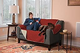 Stratton Collection Quilted Reversible Furniture Protector in Solid Colors By Home Fashion Designs (Love Seat, Red/Ivory)75\