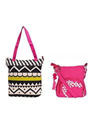 Pick Pocket Combo Of Lime Green, Pink, Ecru Canvas Printed Tote Bag With Pink Canvas Sling Bag With White Embroidery...