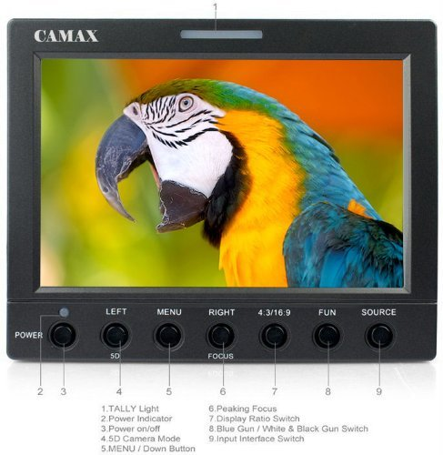 Camax H056 5.6'' (1280*800) Hd Lcd Field Monitor With Hdmi, Analog Cvbs Inputs, Peaking Focus Assist, Hdmi Cable, Battery Backplate, Sun Hood For Video Camcorder Camera Dv Dslr Cameras, Canon 5D Mk Ii, 7D, 60D, 600D (T3I), Nikon D90 D7000 D5100 D3100 D300