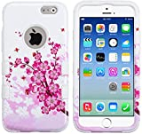 myLife Paper White {Bright Colored Fashionable Cherry Blossom Design} Neo Hybrid Armor Case for the NEW iPhone 6 (6G) 6th Generation Phone by Apple, 4.7