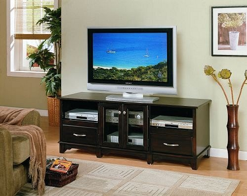 Cheap All new item Dark brown finish wood TV / Plasma / LCD stand entertainment center (AMB F4416)