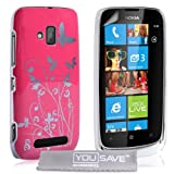 Nokia Lumia 610 Floral Butterfly Hard Case - Hot Pink / Silver