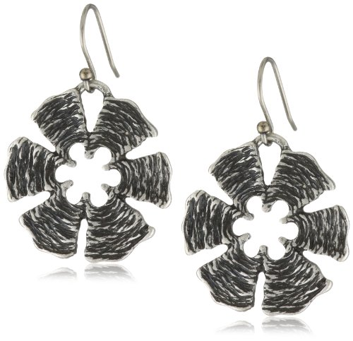 Lucky Brand Small Silver Floral Drop Earrings