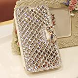 Extreme Deluxe Bling Diamante Bow Bowknot White Leather Case For Samsung Galaxy S2 II T989 T-mobile Phone by Leather Factory Outlet