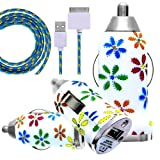 CellBig Introduces Brand New Vehical Travel iN Car Charger Adapter Compact Bullet / Capsule Shaped With Multicoloured Daisy Flowers Print On Calmy White Background Included Spicy Blue Strong Braided Lightning USB Synchronize Data Cable Lead Suitable For