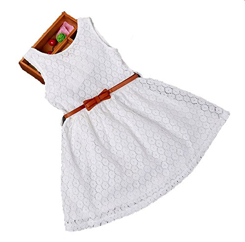 Usstore 1PC Girls Kids Lace Vest Girl Dress Princess Dress( Belt is not included) (140-9-10 Year, White) (Dress Maker Pant Forms compare prices)