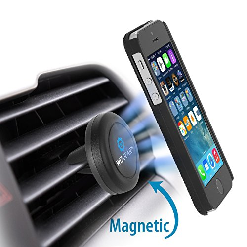 WizGear-Universal-Air-Vent-Magnetic-Car-Mount-Holder-with-Fast-Swift-Snap-Technology-for-Smartphones-and-Mini-Tablets-Black