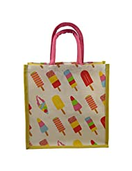Anges AB 34 Ice Cream Yellow & Pink Handbag