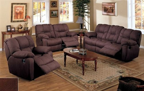 Picture of AtHomeMart 3pc Chocolate Brown Microfiber Motion Recliner Loveseat Sofa Chair Set (PONDF7751-F7752-F7753) (Sofas & Loveseats)