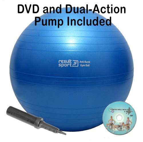 ResultSport® 65cm Anti-Burst Gym Ball with DVD and Dual-Action Pump - Blue