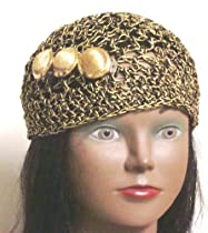 Hand Crocheted Black Chenille and Gold Gimp Tweed Skull Cap for Women and Teens in Combination with Three Buttons on French Clip
