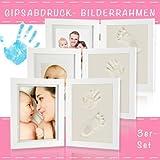 Baby Abdruck Bilderrahmen 3er Set Gipsabdruck Baby Hand Fuß Bauch Fotorahmen