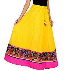 Rangsthali cotton Designer Party Wear lace work long Skirt For women (size: length- 40 Inches) Waist- non stretch- 26 X After Stretch- 38 Inches