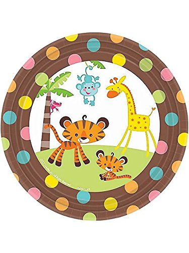 """Fisher Price 7"""" Dessert Plates Baby Shower Monkey Jungle Party Supplies front-1074873"""