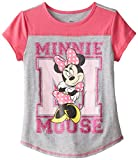 Disney Big Girls' Minnie Mouse Jersey Colorblock Baseball Tee with Cover Stitch