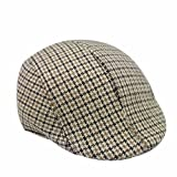 YQ Men's Winter Autumn Houndstooth Ivy Hat Flat Newsboy Cap Gatsby