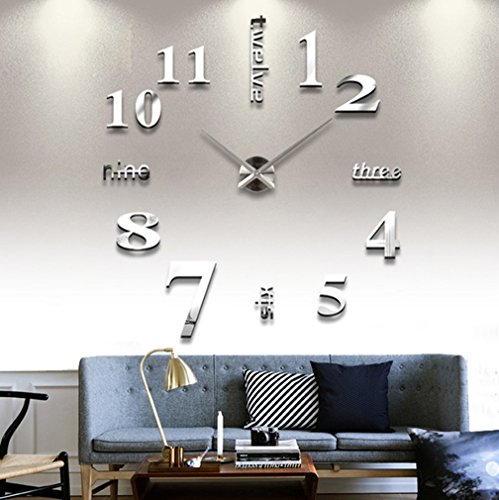 Modern Mute DIY Frameless Large Wall Clock 3d Mirror Sticker Metal Big Watches Home Office Decorations (Sliver)