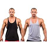 2 X Dk Active Wear BODY BUILDING STRINGER, GYM VEST, GYM STRINGER VEST 100% COTTON (Black,Grey) Large